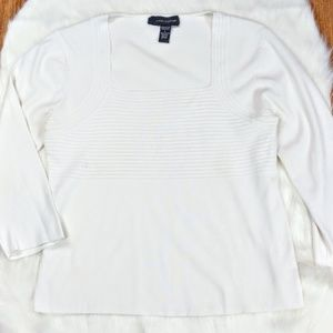 Cable & Gauge White Square Neck Ribbed Stretch Top